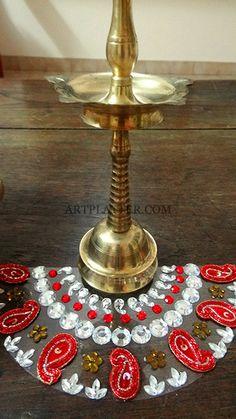 Red and white Kundan Rangoli mat