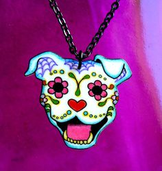 Dia de los Muertos Pit Bull Necklace - 5 dollars from Every necklace sold will go to Villalobos