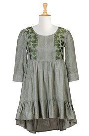 Embellished bib chambray trapeze dress