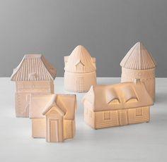 Illuminated Porcelain European Houses Set of 5