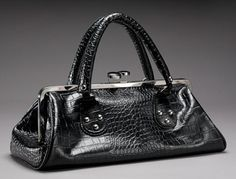 Black Faux Croc Vintage Repro Kisslock Frame Purse