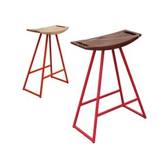Robert Stool by Tronk Design - The Robert stool's uses robust tubular steel in contrast with thin hand-carved wood to create an aesthetic that is at once industrial and elegant. Furniture Projects, Furniture Decor, Furniture Design, Bespoke Furniture, Timber Furniture, Contemporary Chairs, Yanko Design, Home Wallpaper, Unique Home Decor