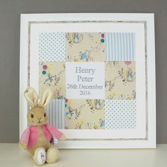 Peter Rabbit© Name and Date Picture -Beatrix Potter - Personalised Baby Gift - Framed Christening Picture - Beatrix Potter Nursery - Newborn Peter Rabbit Fabric, Beatrix Potter Nursery, Rabbit Names, Rabbit Illustration, Bunny Toys, Personalized Baby Gifts, Print Pictures, Fabric Patterns, Unique Gifts