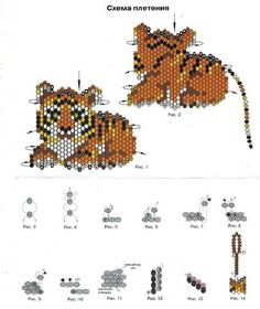 flat beaded tiger figurine - poor image but clear enough to adapt for own… Seed Bead Patterns, Peyote Patterns, Weaving Patterns, Beaded Cross Stitch, Peyote Beading, Beaded Animals, Beaded Ornaments, Pony Beads, Beading Projects