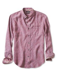 Camden-Fit Textured Print Linen Shirt | Banana Republic