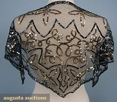 gold & black sequin decorated black net head scarf, made in France.