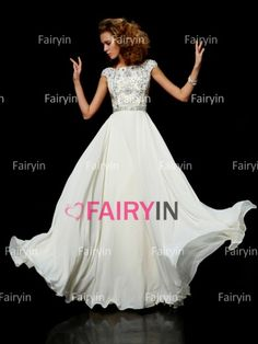 A-line/Princess High Neck Sleeveless Chiffon Floor-length Beading Dress