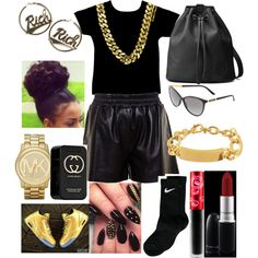 RICH by xbabyxdesx on Polyvore featuring polyvore fashion style Acne Studios NIKE Gucci Michael Kors Joyrich Versace Lime Crime MAC Cosmetics
