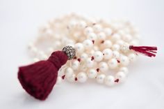 Long Pearl and Diamond Necklace - Vivien Frank Designs #pearl necklace #tassel-necklace #knotted-pearl-necklace