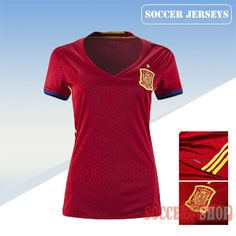 Nice Fitted Spain Red 2016/17 Home Womens Soccer Jersey Clearance From China