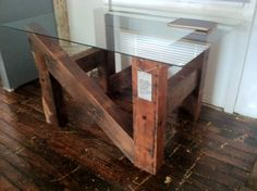 Sustainable Rescued Sill Plate Base Dining Table with Glass Top Reclaimed wood Furniture