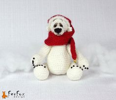 Polar bear crocheted Christmas bear teddy bear от FerFoxDesign