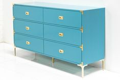 The Jet Setter Dresser shows just what a seasoned traveler you really are. With fixtures reminiscent of steamer trunks and luxurious trips abroad, this vintage inspired piece will give you a serious c Aqua Dresser, Turquoise Dresser, 6 Drawer Dresser, Modern Dresser, Dressers, Campaign Dresser, Campaign Furniture, Design Furniture, Diy Furniture