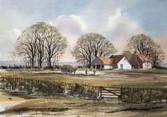 Rowland Hilder - Haymaking on a Kent Farm Watercolor Painting Techniques, Watercolor Artists, Texture Painting, Watercolor Landscape, Landscape Paintings, Watercolour Painting, Australian Painting, Art Tutor, Great Paintings
