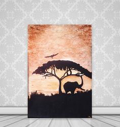 For sale: Acrylic animal painting AFRICA TREE with ELEPHANT golden bronze