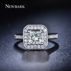 Find More Rings Information about NEWBARK 18K White Gold Plated Women Ring 1.25…