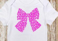 Cheetah Bow Baby Onesie Toddler Shirt Vinyl by CountryHeartDesignz