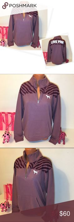 NEW PINK VS HALF ZIP LOGO SWEATSHIRT PINK VICTORIA'S SECRET  HALF ZIP SWEATSHIRT, BIG LOGO IN THE BACK, PUPPY IN THE FRONT, STRIPED DETAIL AND KANGAROO POCKET! GORGEOUS PIECE!!!  COLOR PLUM  (LOOSE FITTING)  FASTSHIPPING!!!  Check out my other items! I am sure you will find something that you will love it! Thank you for watch!!!!! Be sure to add me to your favorites list! PINK Victoria's Secret Tops Sweatshirts & Hoodies