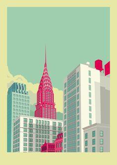 New York illustrations by remko heemskerk, via Behance