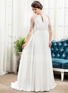 [US$ 189.99] A-Line/Princess Scoop Neck Sweep Train Chiffon Wedding Dress With Ruffle Beading Sequins
