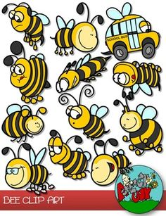 Fun Bees Clipart for unlimited uses.Included are 18 Color and 18 Black Lined, PNG/Transparent Items Total.Each item has a…