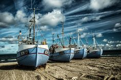 Fishing boats on Thorup Beach, Denmark