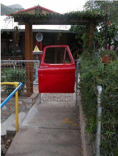 Garden project: Car door as a gate