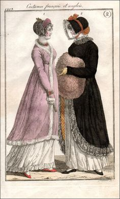 """From Candice Hern: """"The walking dress in this print includes a fabulous fur muff, which you know I love, as well as a brightly striped lining to the dark pelisse. The same striped fabric is featured on the bonnet. The evening costume includes an overdress or robe that appears to be trimmed in white fur or swansdown. Note how the bracelet is worn on top of the sleeve, which is typical for this era. The hairdo includes a complicated arrangement of pearls and a cunning little gold trident."""""""