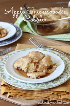 Apple Snickerdoodle Cobbler Recipe ~ Tender apples are covered with a crisp snickerdoodle topping creating a fun and tasty dish every pie and cookie lover will enjoy.