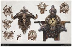Diablo 3 crest design Demon Hunter, Monk, Trent Kaniuga on ArtStation at http://www.artstation.com/artwork/diablo-3-crest-design-demon-hunter-monk