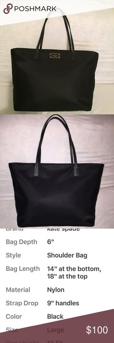 ♠️ Kate Spade Blake Ave. Taden Tote ♠️ Like new condition.  Nylon body with Saffiano Leather trim, straps, bottom & zipper trim.   Zip top close with Kate ♠️ Signature satin lining.  Slip & zip interior pockets.  Measurements are listed in photos.  Please ask any questions before purchase. Kate Spade Bags Totes