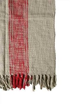 "60""L x 50""W Cotton Throw w/ Stripes & Fringe, Red/Natural"