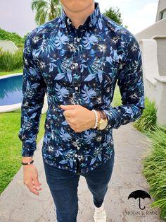 info for 56d26 4d8bb Camisa Slim Fit Marino Flores Azules, Blancas, Negras