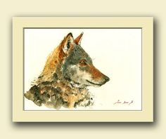 Wolf animal in the forest. Wild animal nursery home decor. Wolves art wall .  This is an original watercolor painting made by me, Juan Bosco.  Frame