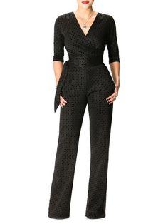 """Naomi"" Black Diamond Print Jumpsuit"