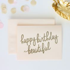 Whether it's received in the mail or attached to the perfect gift, every beautiful friendship merits this sweet blush and gold birthday card. Details: Letterpressed in a bronze/gold ink on blush paper