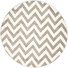 Amherst Dark Gray/Beige 7 ft. x 7 ft. Indoor/Outdoor Round Area Rug