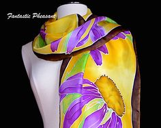 Silk scarf hand painted purple echinacea flowers with bright green leaves on a golden yellow background 14x72inches Ready to Ship OOAK scarf