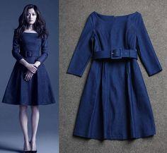 New Three Quarter Sleeve Denim Knee-Length vestidos Casual plus size women clothing dress vestidos femininos alishoppbrasil
