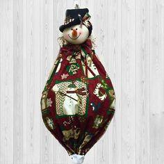 Snowman Decor grocery bag holder winter wall art holiday
