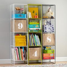 Kids Bookcase: White Steel Wire Bookcase in Bookcases & Caddies | The Land of Nod.  Love the use of multicolored shelving units - white, navy, grey?
