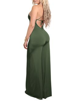 Besicca Womens Spaghetti Strap V Neck Backless Wide Leg Long Jumpsuits Rompers Long Jumpsuits, Jumpsuits For Women, Green Tie, Tie Backs, Army Green, Fashion Brands, Wide Leg, Spaghetti, V Neck