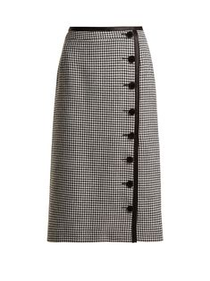 Altuzarra Christofor Hound's-tooth Wool Pencil Skirt In Black Pencil Skirt Outfits, High Waisted Pencil Skirt, Pencil Skirts, Midi Skirts, Pencil Skirt Casual, Pencil Dresses, Casual Skirts, Casual Outfits, Pencil Skirt Tutorial