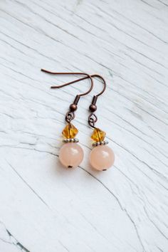 Peach drop earrings by WhiteLilyDesign on Etsy, $10.00