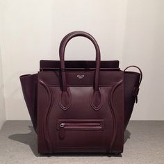 Celine Burgundy Mini Luggage bag