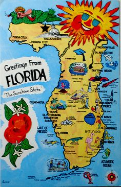 Greetings from Florida map postcard by Smaddy, via Flickr