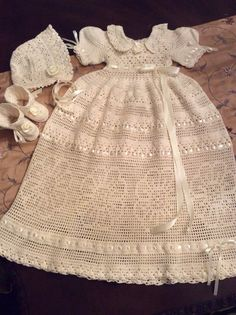 Hand crochet baby erika christening gown bonnet by EmporiumHouse