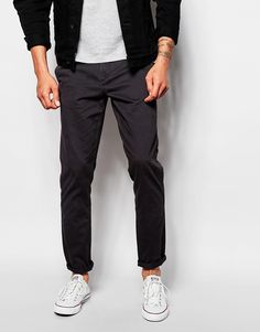 "Chinos by Produkt Cotton twill Concealed fly Side pockets Two back pockets Skinny fit - cut closely to the body Machine wash 100% Cotton Our model wears a 32""/81 cm regular and is 188cm/6'2"" tall"