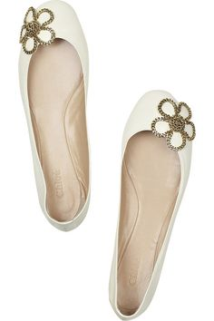 Leather ballerina flats with chain flower embellishment by Chloe