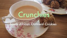 Crunchies (South African oatmeal cookies) South African Recipes, Rolled Oats, Oatmeal Cookies, Lunch Box, Coconut, Snacks, Tableware, Desserts, Drinks